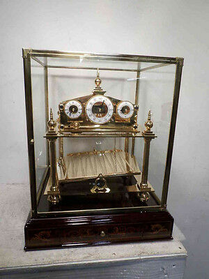 RARE DOUBLE FUSEE 24K Gold Plate Congreve Clock With Beautiful Base & Drawer