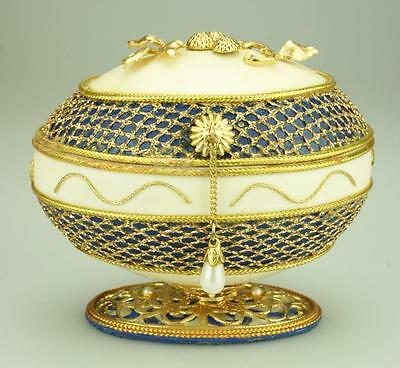 Decorated Goose Egg Trinket Box on Pedestal signed Knuth DH75