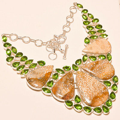 New Arrival Fossil Coral & Faceted Peridot - 925 Silver Jewelry Necklace 18""