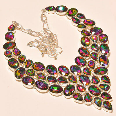 Stunning Faceted Mystic Topaz - 925 Silver Jewelry Necklace 18""