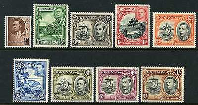 Grenada 1938-50 set of 9 to 1/-  Mint