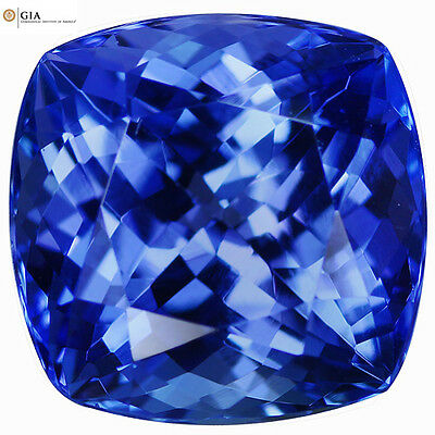 """10.52Ct """"GIA"""" Certified IF Cushion Cut 13 x 12 mm AAA Natural Violet Tanzanite"""
