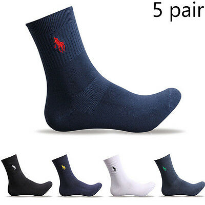 5 Pairs Cotton Men's Quarter Classic Crew Dress Style Polo Business Pure Socks