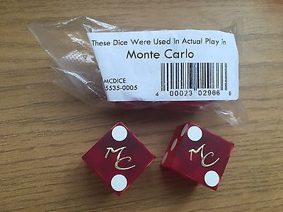 Pair Of Genuine Collectable Las Vegas Casino Dice Monte Carlo Played Once
