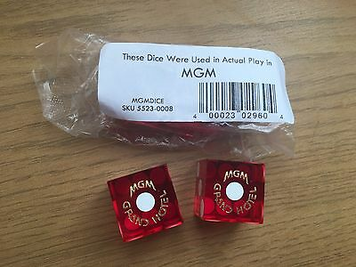 Pair Of Genuine Collectable Las Vegas Casino Dice MGM Grand Hotel Played Once