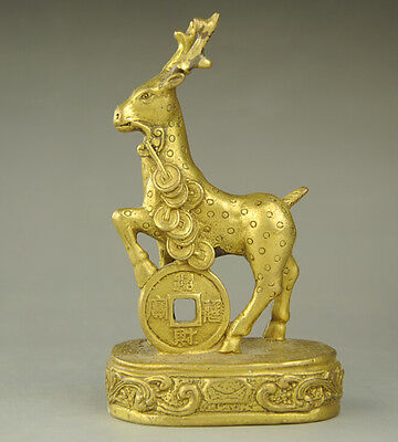 Chinese Old Traditional Culture Brass Bronze statue Lucky Zodiac Money Sheep