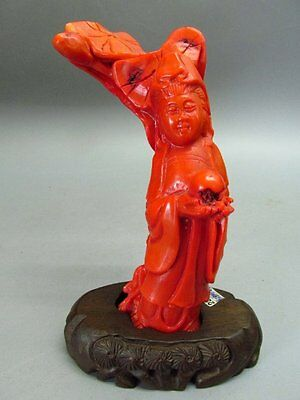 Chinese Dyed Red Coral Carved Guanyin Lotus leaf Statue & Wood Stand