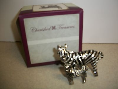 Limoge Jeweled Collection ZebraMom and Baby Hinged Box  New