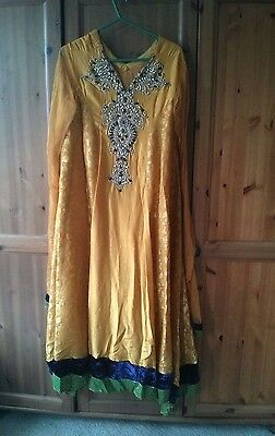 EID Designer Salwar Kameez Yellow Gold Pakistani Party Wedding Formal Silk
