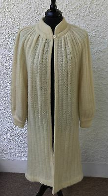 Vintage Tricoville Cream Mohair Blend Long Cardigan / Jacket Sir