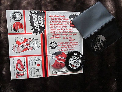 Dennis the Menace Fan Club Badges x2 and wallet 1980's!!!!!!!!!!!!!