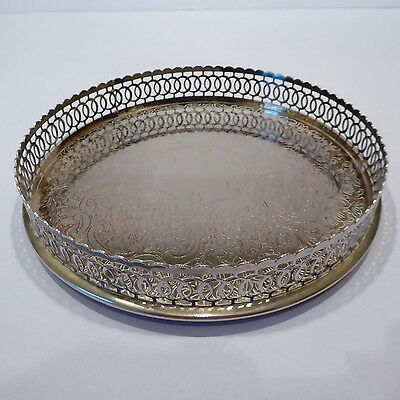 Small Round Silver Plated Serving Tray, Three Ball Feet