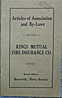Kings Mutual Fire Insurance Co Berwick NS  S/C By Laws Booklet FREE SHIPPING