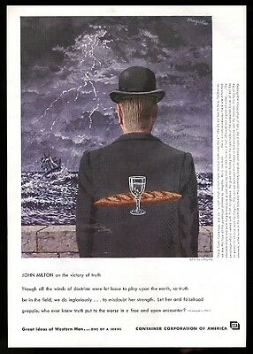 1959 Rene Magritte surreal art John Milton quote CCA vintage print ad