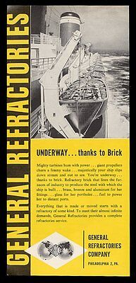 1957 SS United States ship lifeboat row photo Grefco print ad