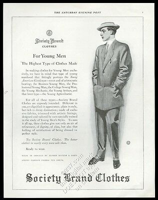 1910 Society Brand Clothes men's suit fashion vintage print ad