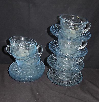 (7) sets Sapphire Blue Anchor Hocking Bubble Cups & Saucers