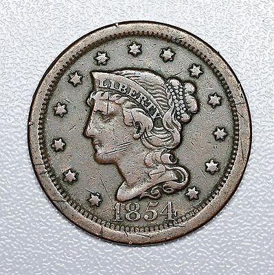 1854 Braided Hair Large Cent, XF Details (VL2169)