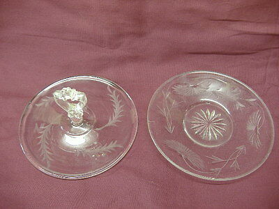 "Two 6"" Antique Etched Glass Plates: Center Handle Server & Star/Flower Plate"
