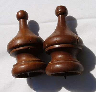 "2 Vintage Antique Wood Furniture Drapery Finial Architectural Salvage 4"" Reclaim"