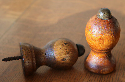 """2 Antique Wood Victorian Door Stops Furniture -Finial Architectural Salvage 3"""""""