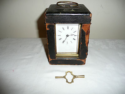 Superb French Carriage Clock in Travel Case With Key, Excellent Original Cond.
