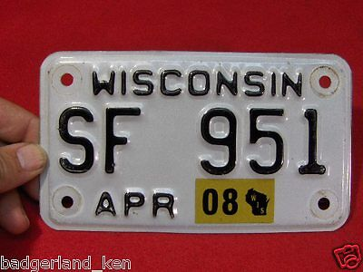 Wisconsin Motorcycle Bike Cycle License Plate Tag