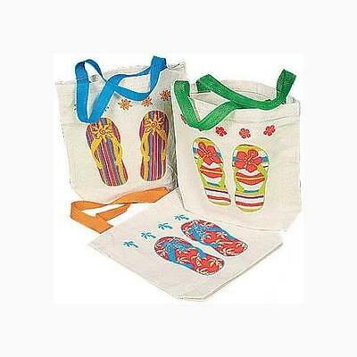 Canvas Flip Flop Tote Bags. Multicolor 12 Pack 8in X 2 1/2in X 8 1/2in w/ 5 1/2i