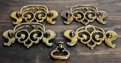 5 pc VTG FLIP FANCY BATWING BRASS FURNITURE DRESSER CABINET DRAWER PULL HANDLE