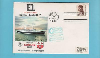 Cunard Official Maiden Voyage  Cover - Queen Elizabeth 2 to New York 1969