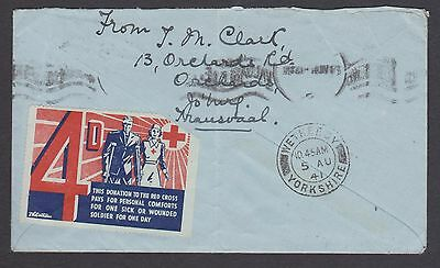 1941 S.Africa to England 2d cover with 4d Red Cross Donation Label /