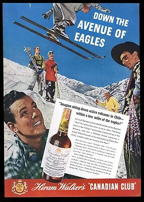 1938 Chile skiing skier photo Canadian Club whisky vintage print ad