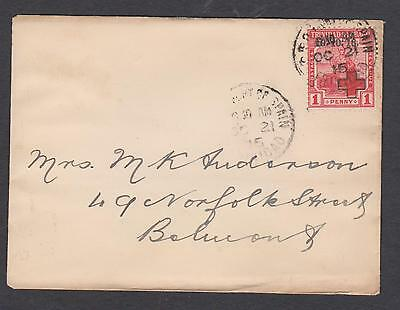 1915 Trin & Tobago Red Cross 1d Fine used on small cover..
