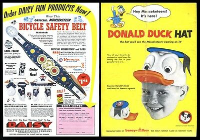 1956 Donald Duck hat Mickey Mouse Mousketeer bicycle safety belt guns photo ad