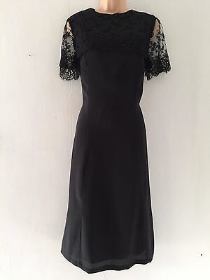 Vintage 80's Black Lace Overlay Bead Embellishment Evening Party Midi Dress 12