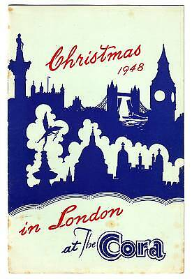 HOTEL CORA hotel travel IN LONDON CHRISTMAS 1948 MENU FOR 24th 25th 26th 27th