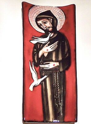 Franco Ruffinelli  MCM Retro pottery wall plaque St Francis of Assisi red black