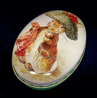 Vtg 1988 Beatrix Potter Benjamin Bunny Peter Rabbit Tin Box Shmid Oval trinket