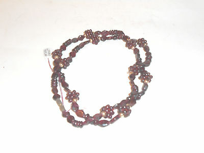 Beautiful Natural Garnet Necklace With Garnet Rosettes & Gold-Plated Accents