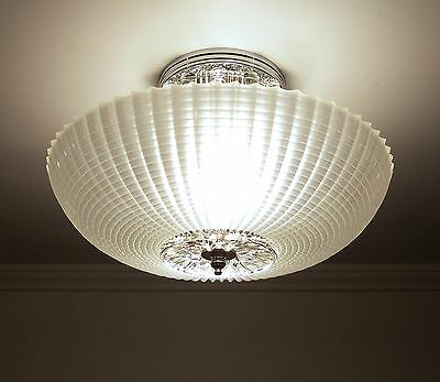 Custom Vintage ART DECO Frosted Glass Ceiling Light Fixture Satin Crystal Color