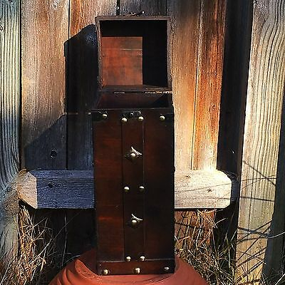 Vintage Tall Rectangle Wood Box with Metal Adornments