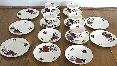 Vintage Colclough Bone China Dark Pink Roses - Cups, Saucers & Plates