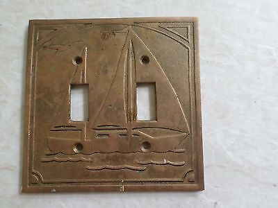 SWITCHPLATE true vintage brass sailboat boats sailing preppy DOUBLE