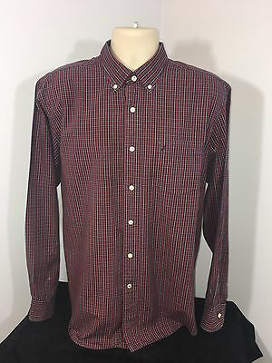 Men's NAUTICA  Size Large Red Plaid Long Sleeve Casual Shirt