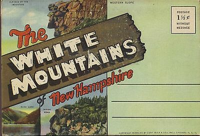 White Mountains New Hampshire 18 view 1946 Fold-out Postcard