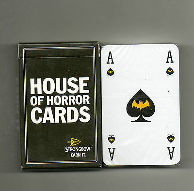 strongbow cider. house of horror brewery. playing cards. new