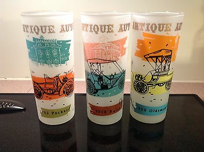 Vintage Antique Autos Glasses (3) Packard, Buick, Oldsmobile Maybe HAZEL ATLAS?