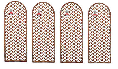 Pack of 4 Framed Willow Trellis Panel - Curved Top- Climbing Trellises