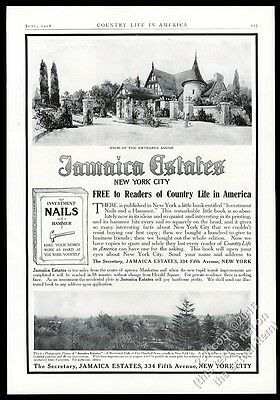 1908 Jamaica Estates New York City entrance lodge photo vintage print ad