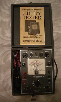 Vintage Utility Tester Accurate Instrument Co. Model 161 With Instruction Book